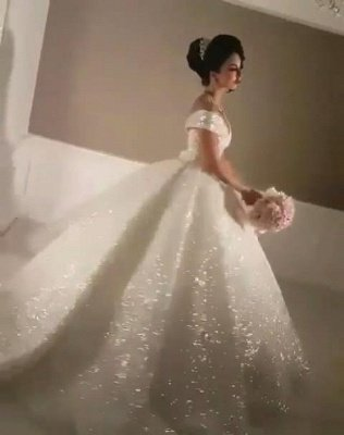 Sexy Off-the-Shoulder Open Back Wedding Dresses   Lace-Up Sequins Bridal Ball Gowns_5