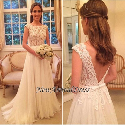 Lace Tulle Online-Back Elegant Button A-Line Wedding Dresses Cheap_1