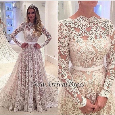 Lace Appliques Backless Bowknot Elegant Long Sleeve Cheap Online A-Line Wedding Dresses_1