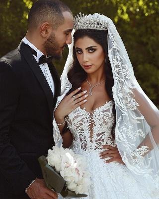 Elegant Lace Straps Wedding Dresses | 2019 Luxury Open Back Sleeveless Bridal Gowns_3