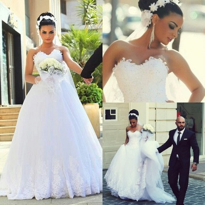 Sweetheart Sexy Cheap Sleeveless Lace New Arrival A-line Wedding Dresses_4