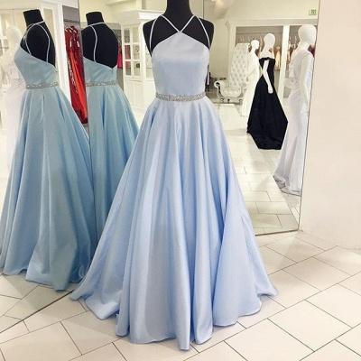 Simple Sky Blue Sleeveless Beads Custom Made A-line Zipper Prom Dresses Cheap_3