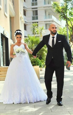 Sweetheart Sexy Cheap Sleeveless Lace New Arrival A-line Wedding Dresses_2
