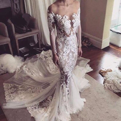 Appliques Glamorous Tulle Mermaid Long Sleeve Sexy Wedding Dresses Cheap Online_4