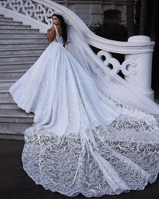 Elegant Lace Straps Wedding Dresses   2019 Luxury Open Back Sleeveless Bridal Gowns_4