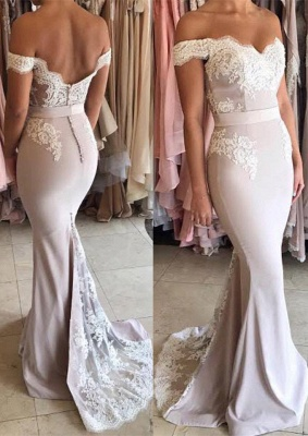 Modest Off-the-shoulder Lace Mermaid Sweep Train Prom Dress BA7854_1