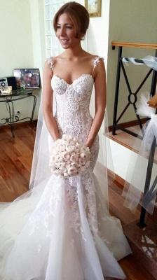 Applique Sleeveless Tulle Spaghetti-Strap Mermaid Long Wedding Dresses Cheap Online_3