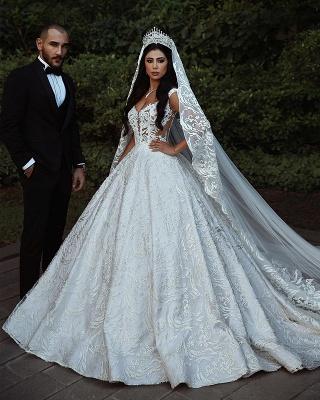 Elegant Lace Straps Wedding Dresses | 2019 Luxury Open Back Sleeveless Bridal Gowns_1
