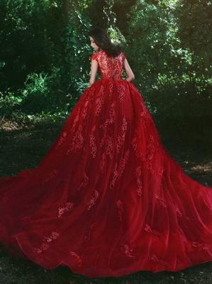 Red Over-Skirt Lace V-Neck Glamorous Applique Prom Dresses BA7655_3