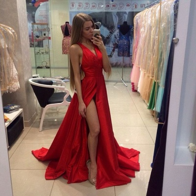 Sexy Side Split Prom Dresses Cheap V-neck Stretch Satin Formal Gowns CE0015_3