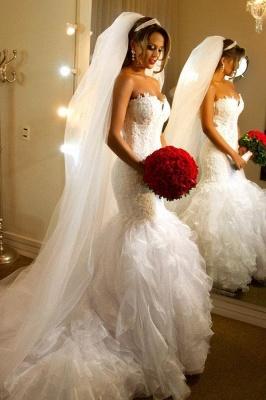 Vestidos de novia elegantes sin tirantes de la envoltura de organza Vestidos de novia de sirena con espalda transparente BO7794_1