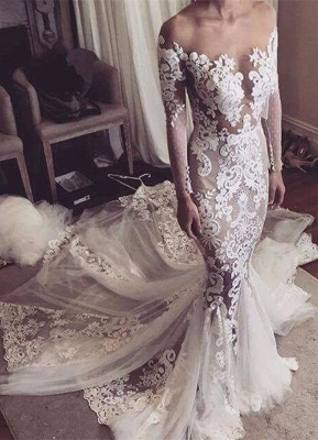 Appliques Glamorous Tulle Mermaid Long Sleeve Sexy Wedding Dresses Cheap Online_2