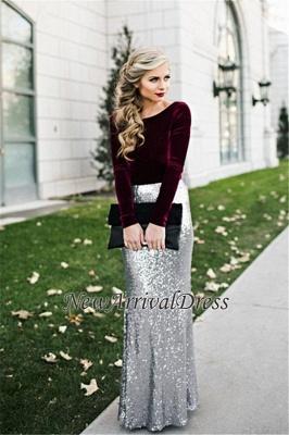 Sheath Winter Velvet Latest Sequins Burgundy Sleeves Silver Long Evening Dresses_1
