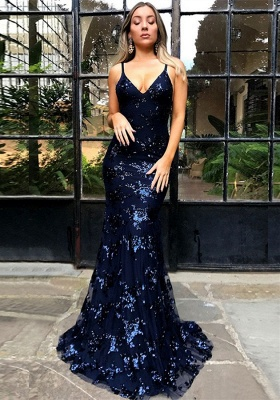 Sexy Spaghetti Strap Lace Sleeveless Formal Gowns | Lace Up Open Back Navy Blue Prom Dresses BA7489_1