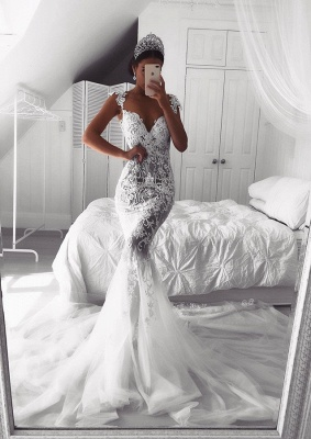 Beautiful Lace Mermaid Straps Cap Sleeve Wedding Dresses | Modest Online Cheap Bridal Gowns BA9614_1