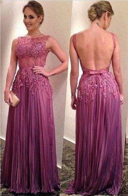 Ruffles A-Line Elegant Appliques Backless Sleeveless Prom Dresses_3