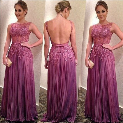Ruffles A-Line Elegant Appliques Backless Sleeveless Prom Dresses_1