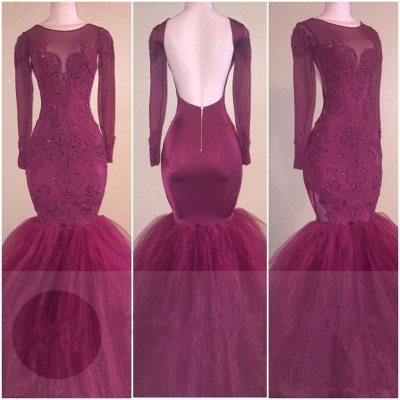 Mermaid Long Sleeve Elegant Open Back Appliques Tulle Prom Dresses Cheap_2