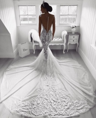 Beautiful Lace Mermaid Straps Cap Sleeve Wedding Dresses | Modest Online Cheap Bridal Gowns BA9614_3