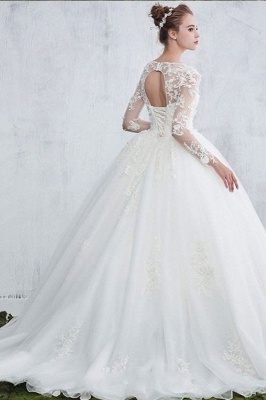 Gown Long Sleeve Ball New Arrival Lace Jewel  Elegant Wedding Dresses_3