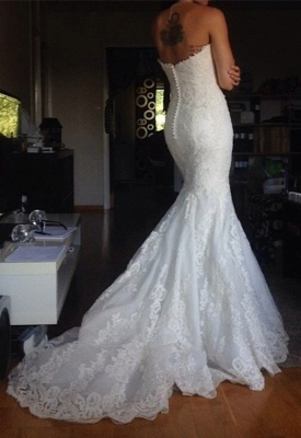Strapless Tulle Appliques Simple  Buttons Wedding Dresses Cheap Online_3