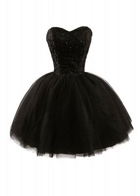 Lace Sweetheat Homecoming Little Black Dresses Sequins Mini Cocktail Dresses_1