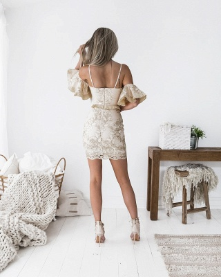 Sexy Spaghetti Strap Bodycon Short Homecoming Dress | Mini Cocktail Gown_4