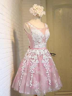 Lace-Up Open Back Sleeveless Appliques Sash Pink Jewel Lace Sexy Short Homecoming Dresses_3