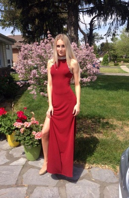 Sexy red prom dress,long evening dress with crystal_1