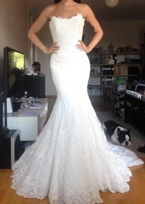 Strapless Tulle Appliques Simple  Buttons Wedding Dresses Cheap Online_2