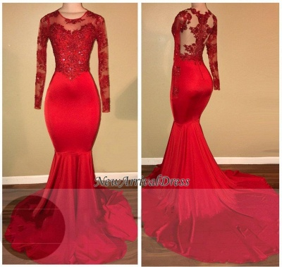 Mermaid Long Sleeve Red Appliques Sheer Amazing Prom Dresses Cheap BA7856_1