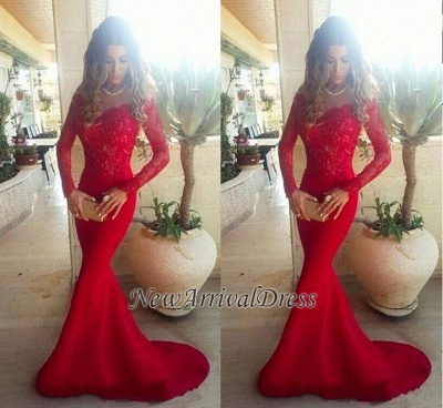 Lace ShoulderGowns the Evening Mermaid Red Sleeves Long Sexy Off Long Prom Dresses_1