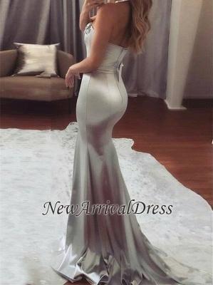 Mermaid Beading Mermaid Sweetheart-Neck Long Silver Shiny Prom Dresses_3