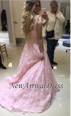 Pink V-neck Long Lace Sheer Fashion A-line Evening Dresses_1