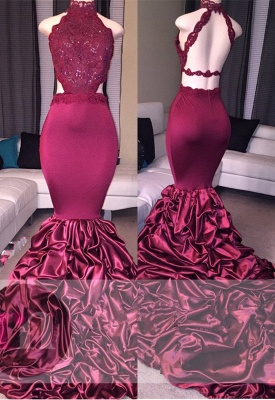 Lace Mermaid Beads Open Back Formal Dresses   High Neck New Arrival Prom Dresses Cheap_2