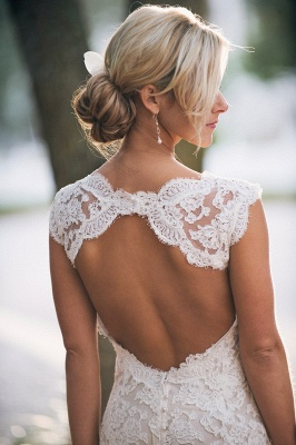 Stunning Full Lace Wedding Dresses Cheap | Backless Sleeveless Simple Bridal Gowns Online_3