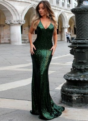 Sexy Green Sequined Bodycon Evening Dress | Long Formal Dress