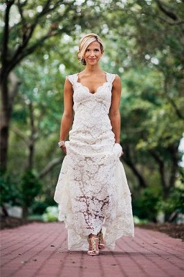 Elegant Full Lace Wedding Dress Cheap | Open Back Sleeveless Simple Bridal Gowns
