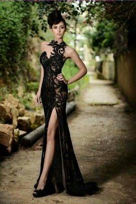 Sexy Black Prom Dress|Mermaid Evening Dress With Slit_2