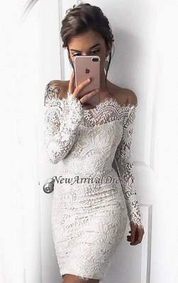 White Short Long-Sleeve Mermaid Cocktail Simple Party Dresses BA7002_4