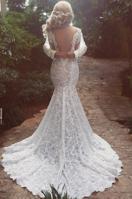 Long Sleeve Mermaid Lace Wedding Dresses Cheap Sexy Open Back V-neck Classic Bridal Gowns_3