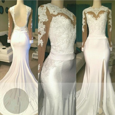 Open Back Long Sleeve White Long Prom Dresses Cheap | Mermaid Lace Formal Dresses with Sleeves_3
