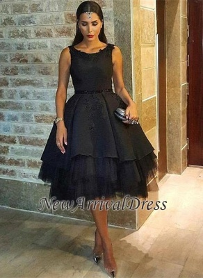 Scoop Tulle Black Short Sexy Lace Sleeveless Prom Dress_5