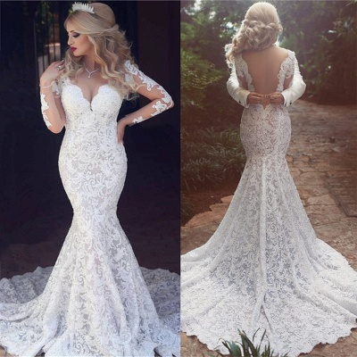 Long Sleeve Mermaid Lace Wedding Dresses Cheap Sexy Open Back V-neck Classic Bridal Gowns_4