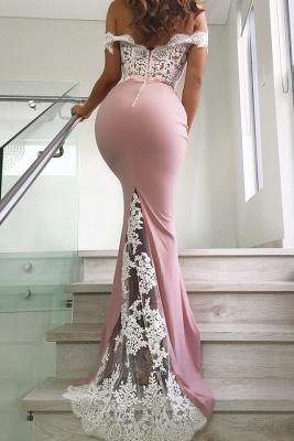 Pink Off The Shoulder Mermaid Prom Dresses   Long Lace Long Formal Dresses Online BC0359_3