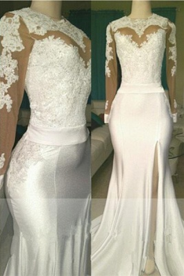Open Back Long Sleeve White Long Prom Dresses Cheap | Mermaid Lace Formal Dresses with Sleeves_1