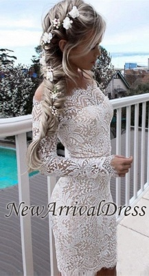 White Short Long-Sleeve Mermaid Cocktail Simple Party Dresses BA7002_3