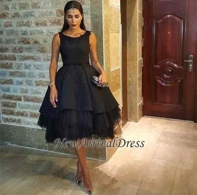 Scoop Tulle Black Short Sexy Lace Sleeveless Prom Dress_4