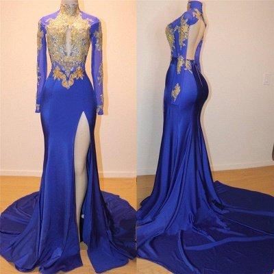 Robe de bal sexy dos bleu appliques bleu royal doré | 2020 Robe de soirée pas chère à manches longues et fente latérale_3