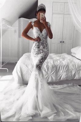 Beautiful Lace Mermaid Straps Cap Sleeve Wedding Dresses | Modest Online Cheap Bridal Gowns BA9614_2